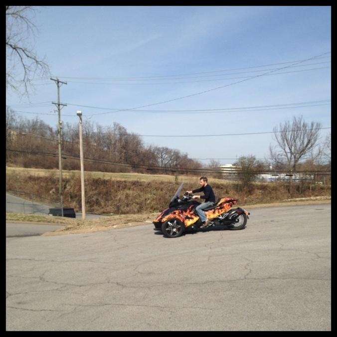 Daniel riding Spyder